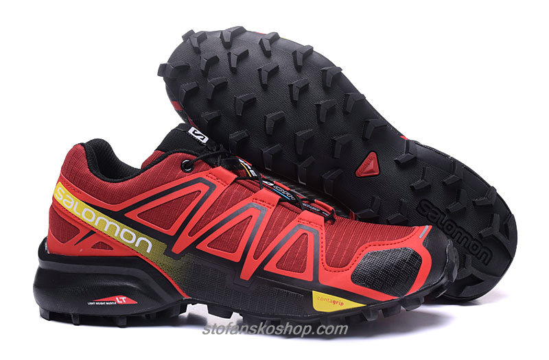 Salomon Speedcross 4 Rød / Gul / Svart Trail Løpesko